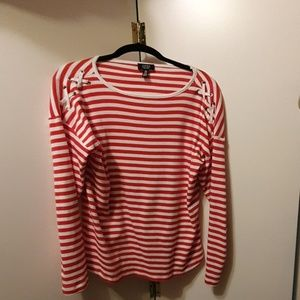 Jones New York casual red and white striped shirt.